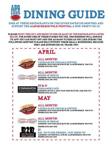 ABQ FOLK FEST Dining Guide